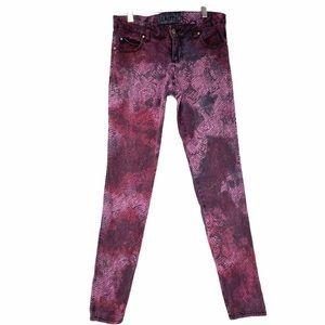 Tripp NYC Purple Pink Tie dye animal print jeans